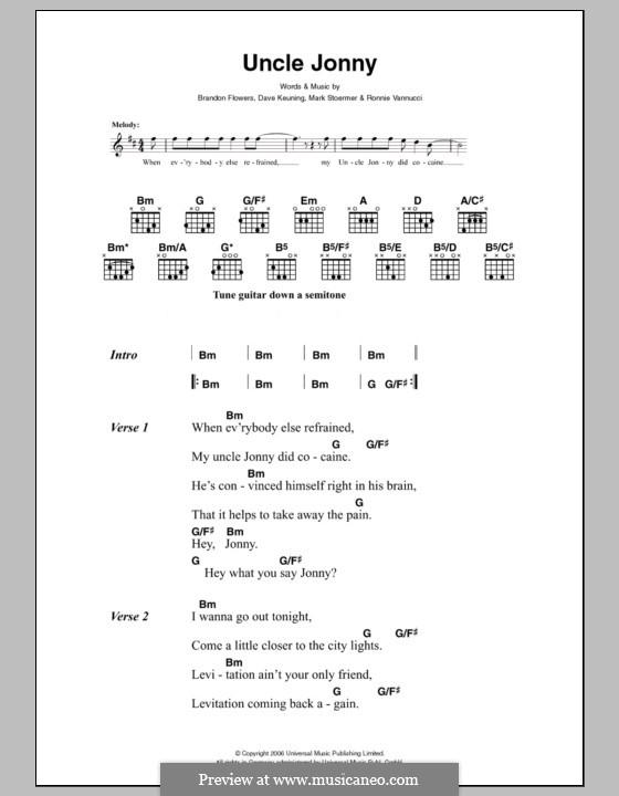 Uncle Jonny (The Killers): Letras e Acordes by Brandon Flowers, Dave Keuning, Mark Stoermer, Ronnie Vannucci