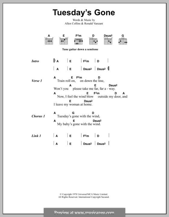 Tuesday's Gone (Lynyrd Skynyrd): Letras e Acordes by Allen Collins, Ronnie Van Zant
