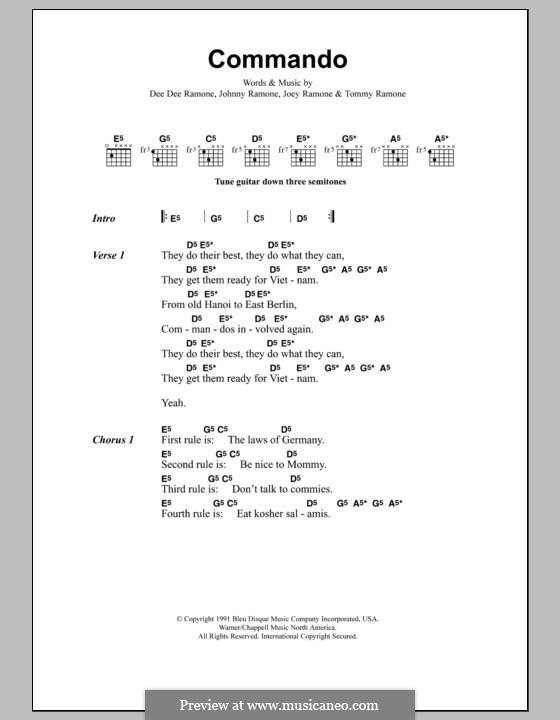 Commando (Metallica): Letras e Acordes by Dee Dee Ramone, Joey Ramone, Johnny Ramone, Tommy Ramone