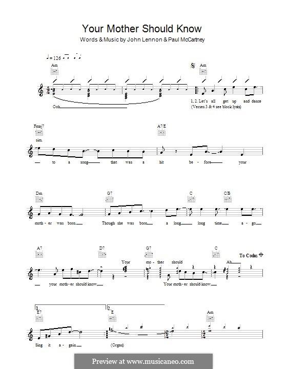 Your Mother Should Know (The Beatles): melodía,letras e acordes by John Lennon, Paul McCartney