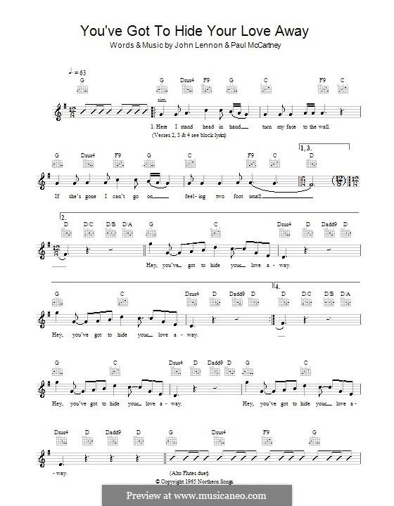 You've Got to Hide Your Love Away (The Beatles): melodía,letras e acordes by John Lennon, Paul McCartney