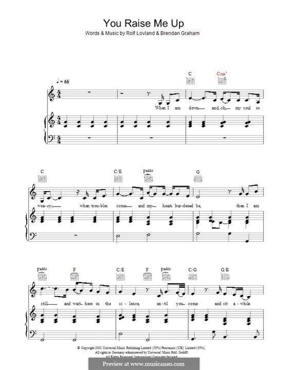 You Raise Me Up: para voz e piano ou guitarra (C maior) by Brendan Graham, Rolf Løvland
