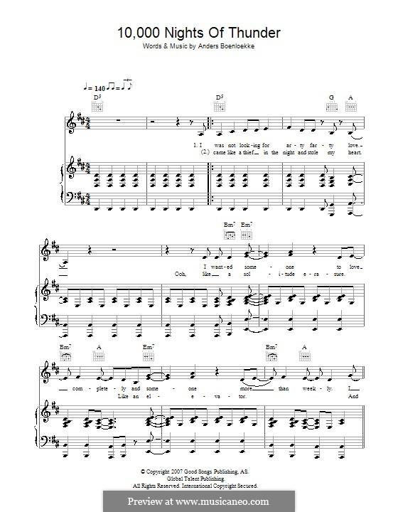 10,000 Nights of Thunder (Alphabeat): Para vocais e piano (ou Guitarra) by Anders Boenloekke