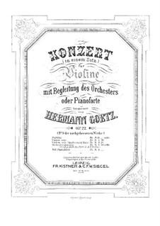 Concerto in G Major for Violin and Orchestra, Op.22: para violino e piano - partitura e parte solo by Hermann Goetz