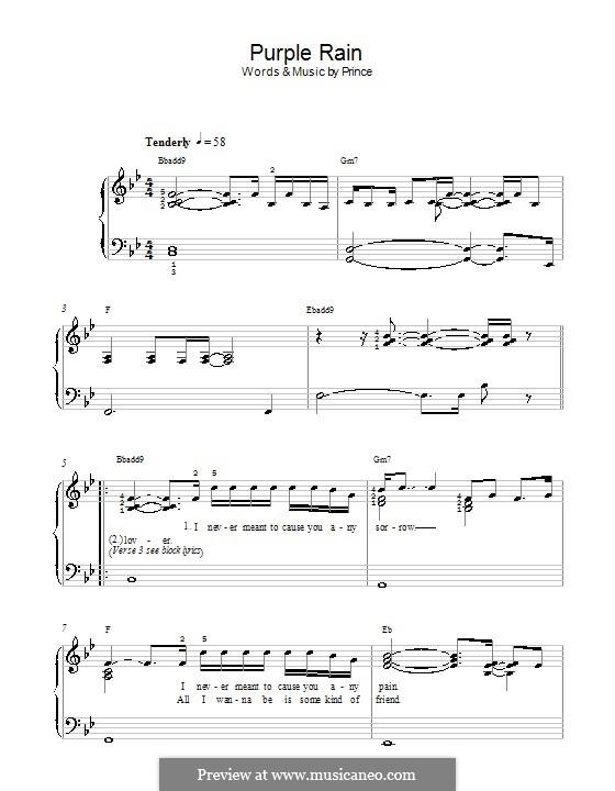 Purple Rain: Facil para o piano by Prince