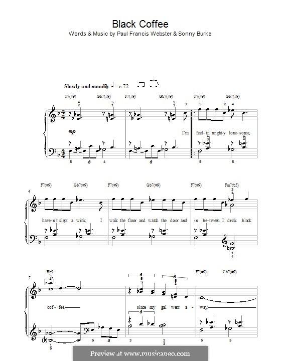 Black Coffee: Facil para o piano by Sonny Burke