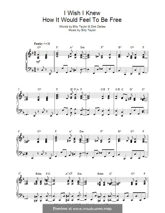 I Wish I Knew How it Would Feel to Be Free: For piano (Nina Simone) by Billy Taylor