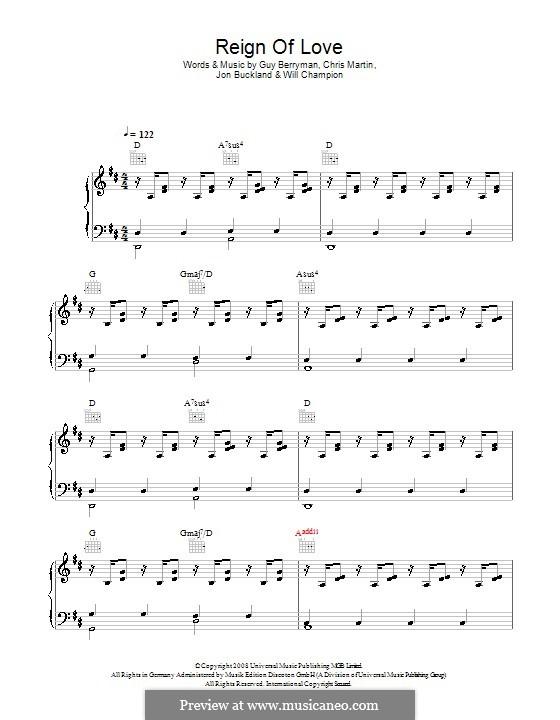 Reign of Love (Coldplay): Para vocais e piano (ou Guitarra) by Chris Martin, Guy Berryman, Jonny Buckland, Will Champion