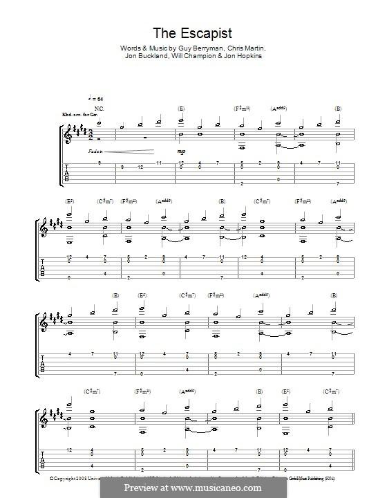 The Escapist (Coldplay): Para guitarra com guia by Chris Martin, Guy Berryman, Jonny Buckland, Jon Hopkins, Will Champion