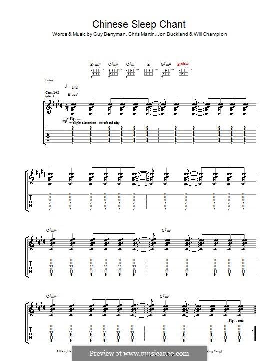 Chinese Sleep Chant (Coldplay): Para guitarra com guia by Chris Martin, Guy Berryman, Jonny Buckland, Will Champion