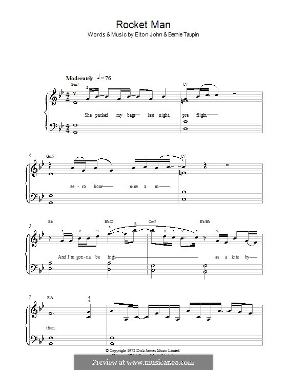 Rocket Man (I Think It's Gonna Be a Long Long Time): For easy piano (G Minor) by Elton John