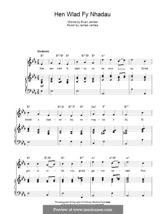 Hen Wlad Fy Nhadau (Unofficial Welsh National Anthem): Para vocais e piano (ou Guitarra) by James James
