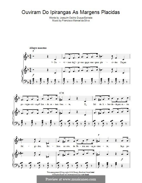 Hino Nacional Brasileiro: Para vocais e piano (ou Guitarra) by Francisco Manuel da Silva