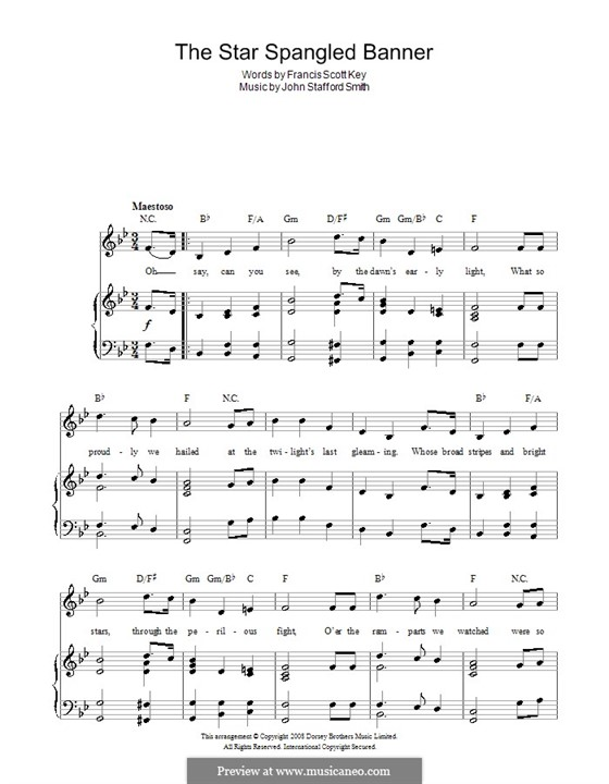 The Star Spangled Banner (National Anthem of The United States). Printable Scores: para voz e piano ou guitarra (B Flat maior) by John Stafford Smith