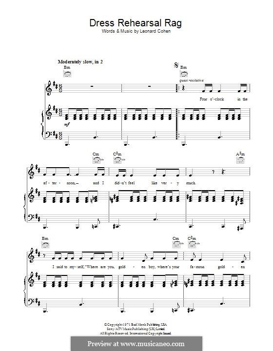 Dress Rehearsal Rag: Para vocais e piano (ou Guitarra) by Leonard Cohen