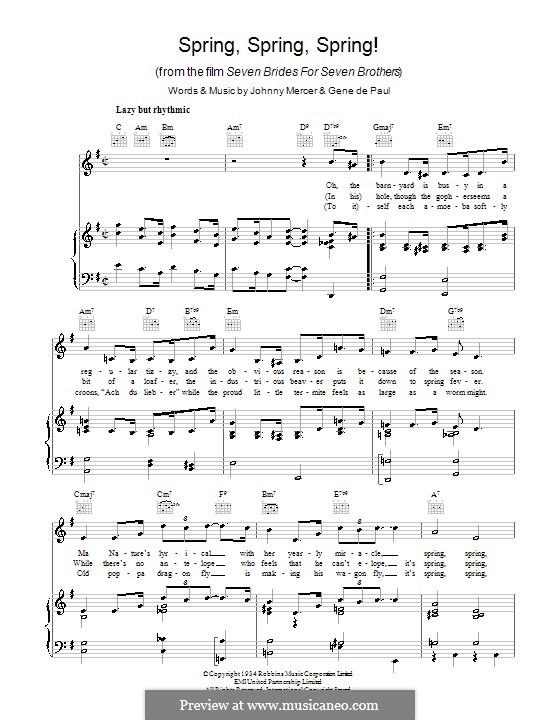 Spring, Spring, Spring!: Para vocais e piano (ou Guitarra) by Gene de Paul
