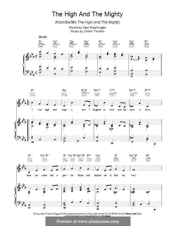 The High and the Mighty: Para vocais e piano (ou Guitarra) by Dimitri Tiomkin