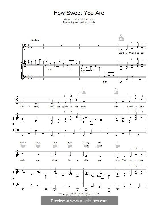 How Sweet You Are: Para vocais e piano (ou Guitarra) by Arthur Schwartz, Frank Loesser