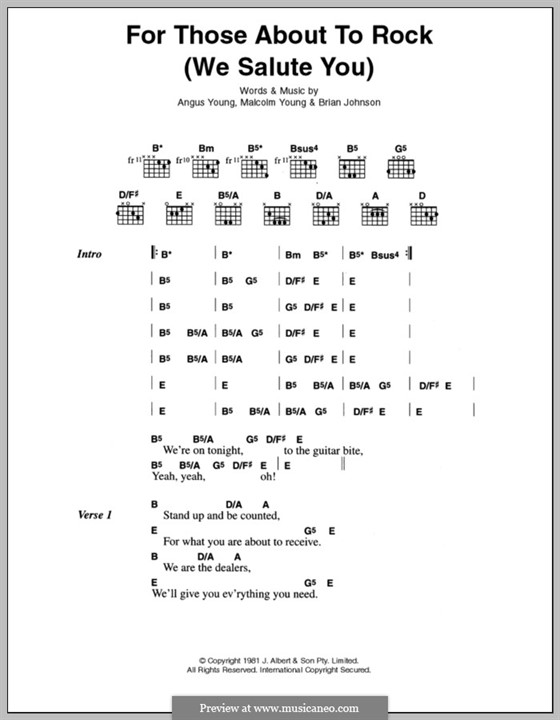 For Those About to Rock (We Salute You): Lyrics and chords (AC/DC) by Angus Young, Brian Johnson, Malcolm Young