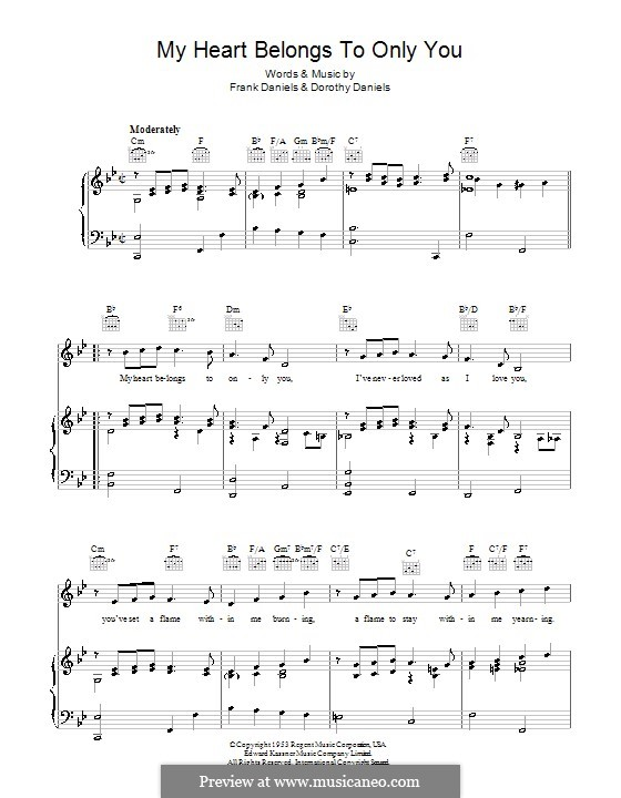 My Heart Belongs to Only You (Bobby Vinton): Para vocais e piano (ou Guitarra) by Frank Daniels, Dorothy Daniels
