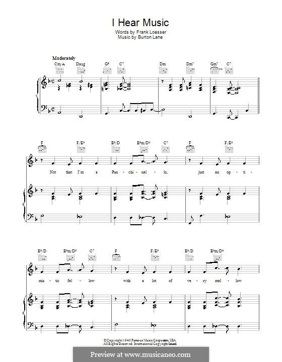 I Hear Music: Para vocais e piano (ou Guitarra) by Burton Lane