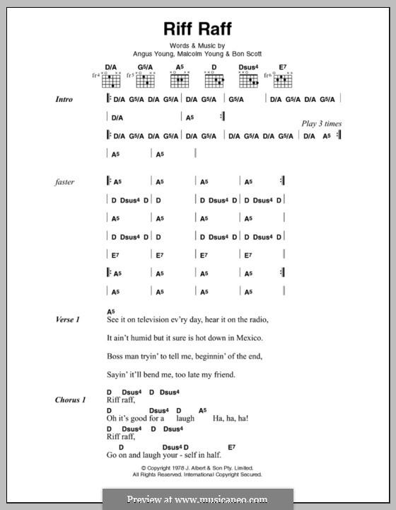 Riff Raff (AC/DC): Letras e Acordes by Angus Young, Bon Scott, Malcolm Young