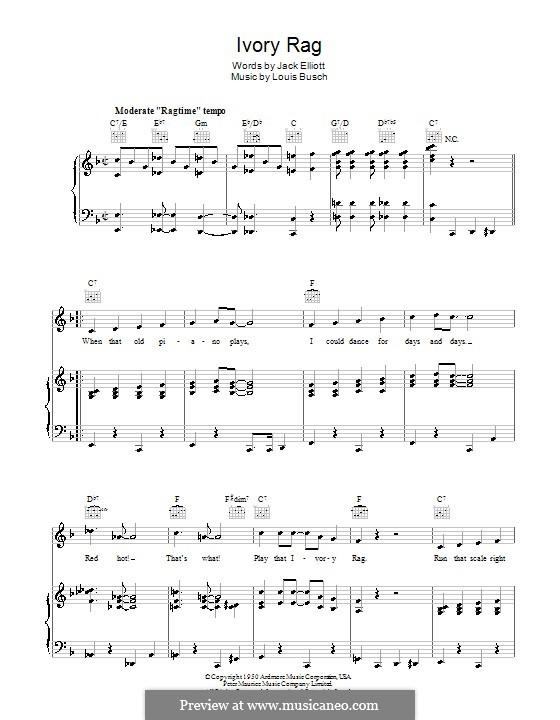Ivory Rag: Para vocais e piano (ou Guitarra) by Lou Busch