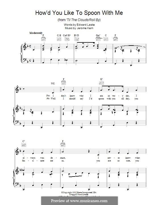 How'd You Like to Spoon with Me: Para vocais e piano (ou Guitarra) by Jerome Kern