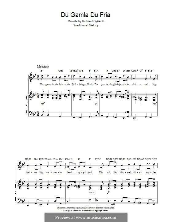 Du Gamla Du Fria (Swedish National Anthem): Para vocais e piano (ou Guitarra) by folklore