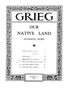 Paraphrase on Patriotic Hymn 'Our Native Land' for Organ: Paraphrase on Patriotic Hymn 'Our Native Land' for Organ by Edvard Grieg