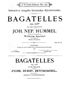 Bagatelles, Op.107: set completo by Johann Nepomuk Hummel