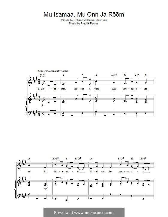 Maamme (Finnish National Anthem): Para vocais e piano (ou Guitarra) by Fredrik Pacius