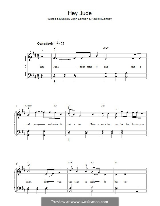 Hey Jude (The Beatles), for Piano: With lyrics and chords by John Lennon, Paul McCartney