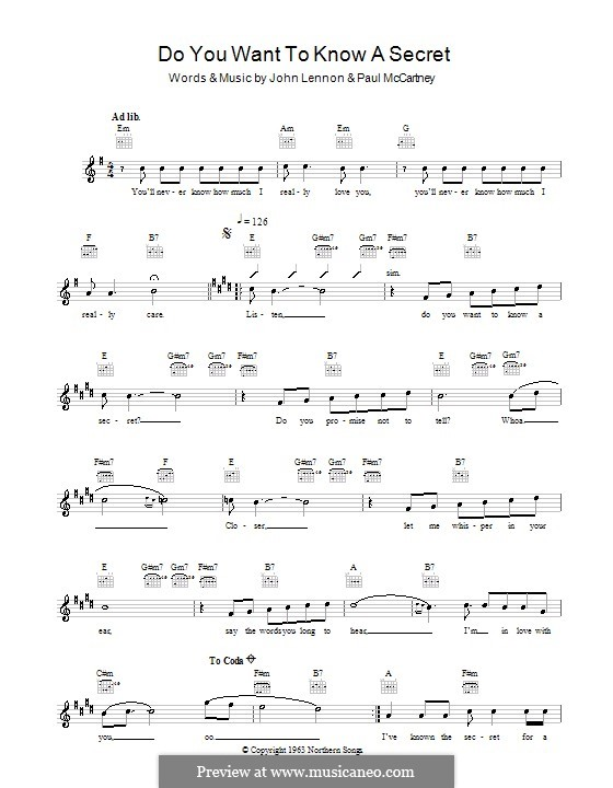 Do You Want to Know a Secret? (The Beatles): melodía,letras e acordes by John Lennon, Paul McCartney