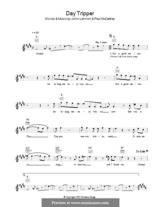 Day Tripper (The Beatles): melodía,letras e acordes by John Lennon, Paul McCartney
