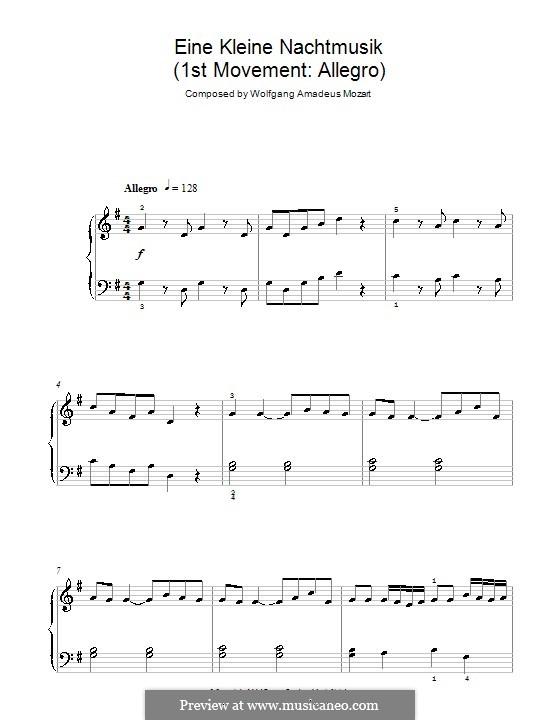 Allegro, version for piano: para um único musico (Editado por H. Bulow) by Wolfgang Amadeus Mozart