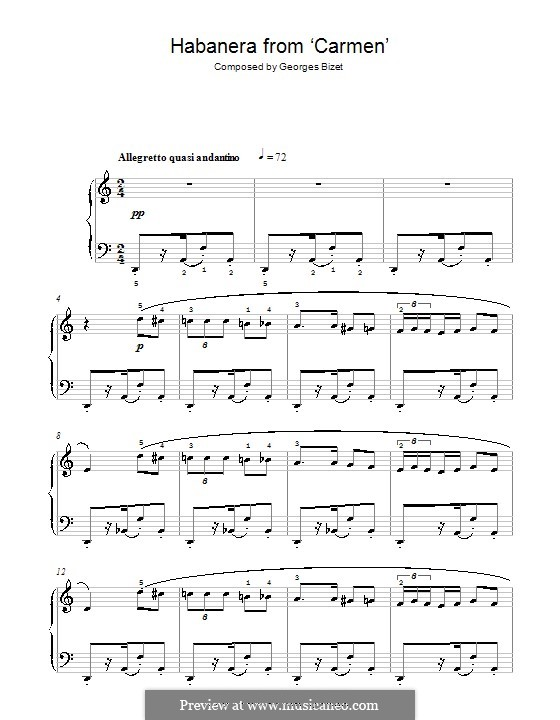 Habanera (Printable Scores): Version for easy piano (with fingering) by Georges Bizet