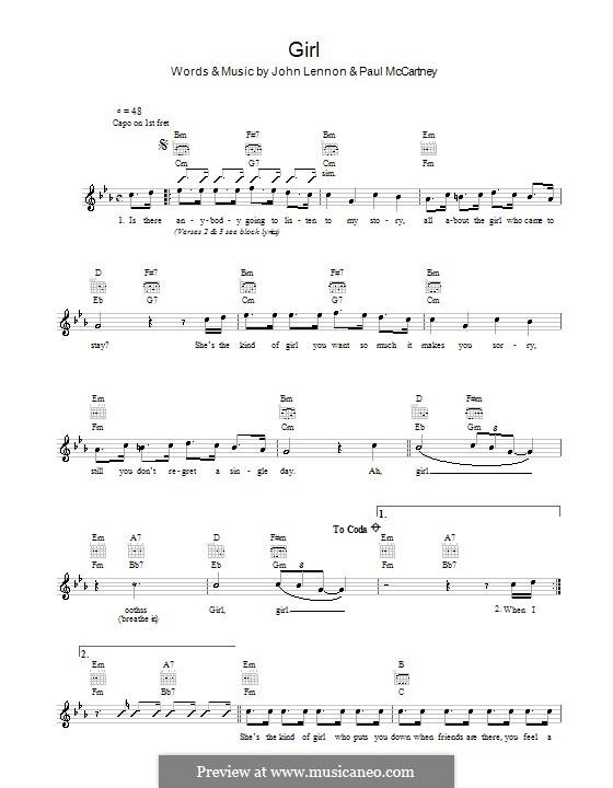 Girl (The Beatles): melodía,letras e acordes by John Lennon, Paul McCartney