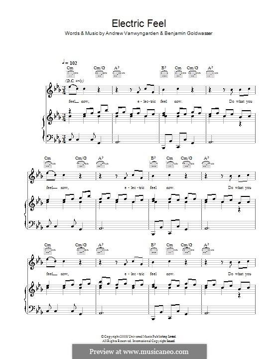 Electric Feel (MGMT): Para vocais e piano (ou Guitarra) by Andrew Vanwyngarden, Benjamin Goldwasser