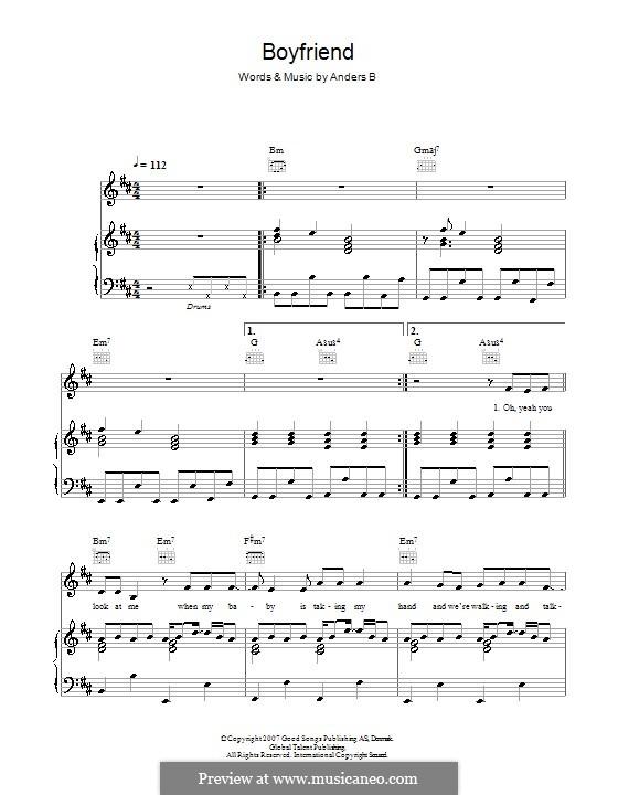 Boyfriend (Alphabeat): Para vocais e piano (ou Guitarra) by Anders B