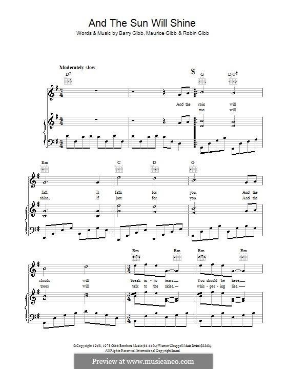 And the Sun Will Shine (The Bee Gees): Para vocais e piano (ou Guitarra) by Barry Gibb, Maurice Gibb, Robin Gibb