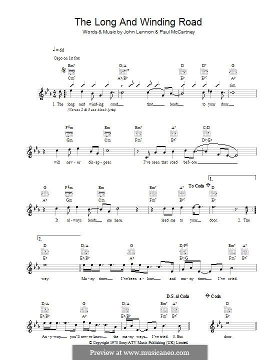 The Long and Winding Road (The Beatles): melodía,letras e acordes by John Lennon, Paul McCartney
