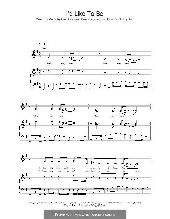 I'd Like To: Para vocais e piano (ou Guitarra) by Paul Herman, Thomas Danvers
