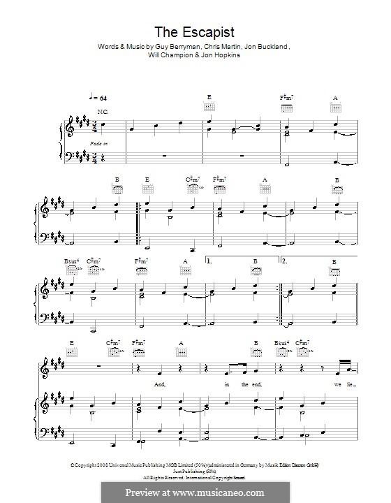 The Escapist (Coldplay): Para vocais e piano (ou Guitarra) by Chris Martin, Guy Berryman, Jonny Buckland, Jon Hopkins, Will Champion