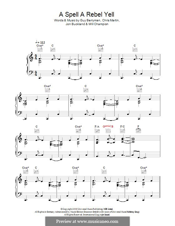 A Spell a Rebel Yell (Coldplay): Para vocais e piano (ou Guitarra) by Chris Martin, Guy Berryman, Jonny Buckland, Will Champion