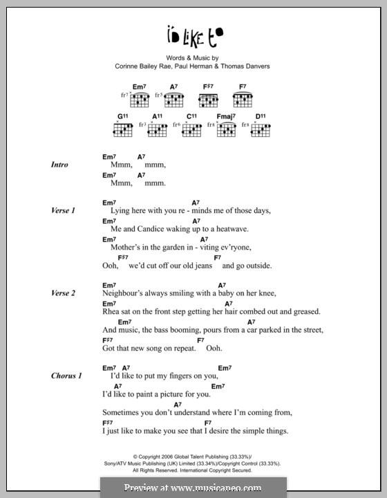 I'd Like To: Letras e Acordes by Paul Herman, Thomas Danvers