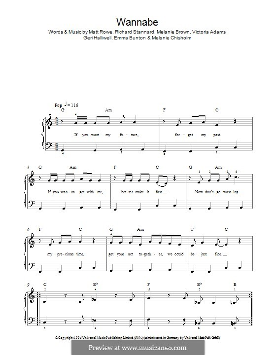 Wannabe (The Spice Girls): Facil para o piano by Emma Bunton, Geri Halliwell, Matt Rowe, Melanie Brown, Melanie C, Richard Stannard, Victoria Adams