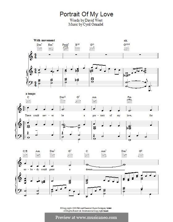 Portrait of My Love: Para vocais e piano (ou Guitarra) by Cyril Ornadel