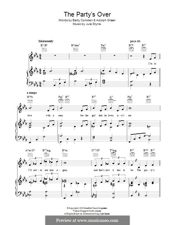 The Party's Over: Para vocais e piano (ou Guitarra) by Jule Styne