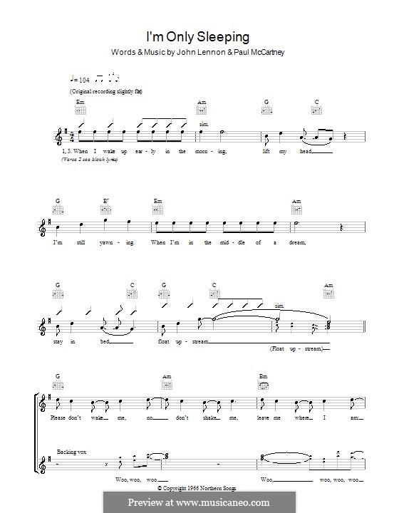 I'm Only Sleeping (The Beatles): melodía,letras e acordes by John Lennon, Paul McCartney
